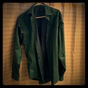 Green button up dress shirt.